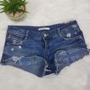 Zara Trafaluc Denim Cutoff Shorts Blue Pocket Sz 4